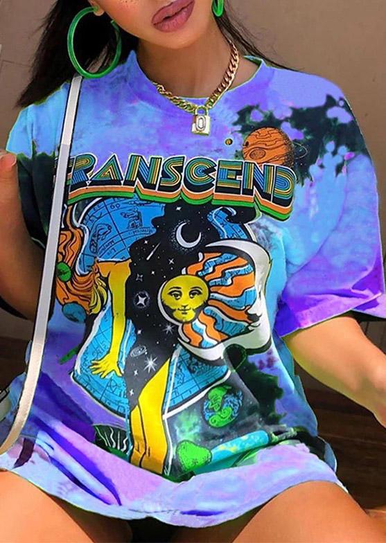 Tie Dye Graphic O-Neck T-Shirt Tee