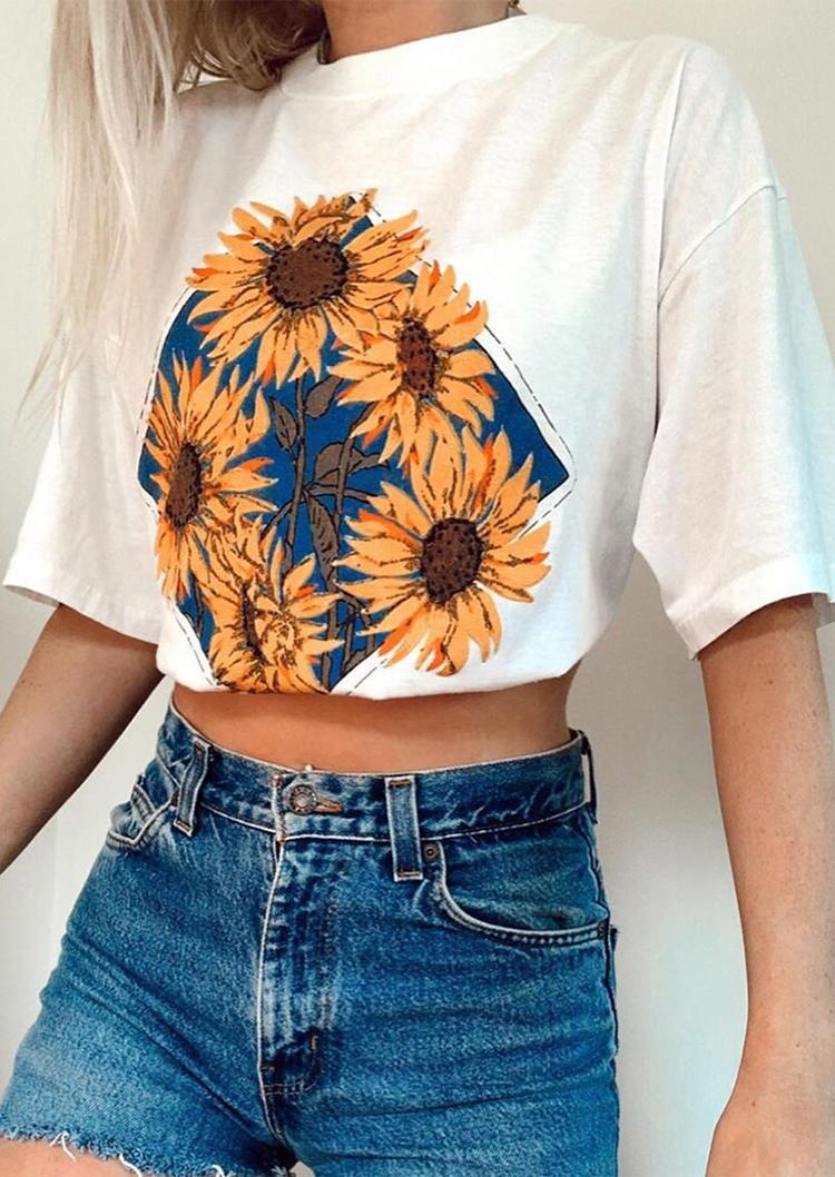 Sunflower O-Neck Half Sleeve T-Shirt Tee - White