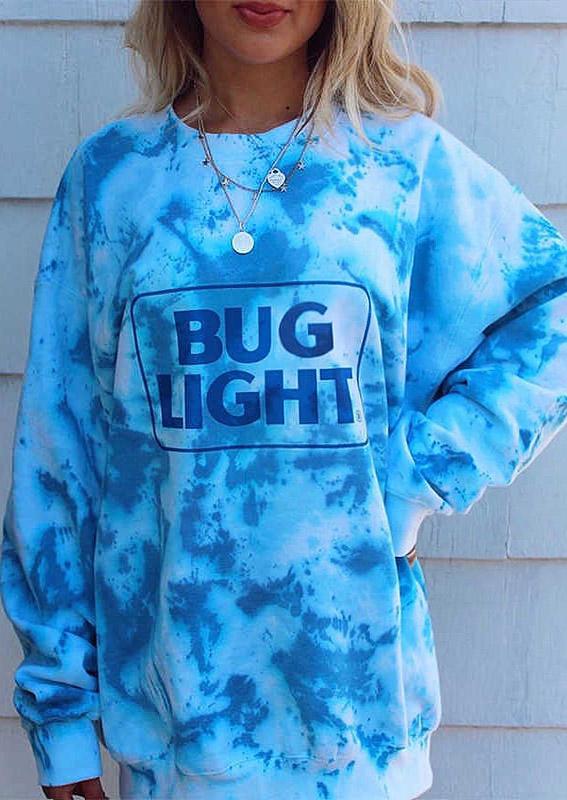 Bug Light Tie Dye Long Sleeve Sweatshirt - Blue