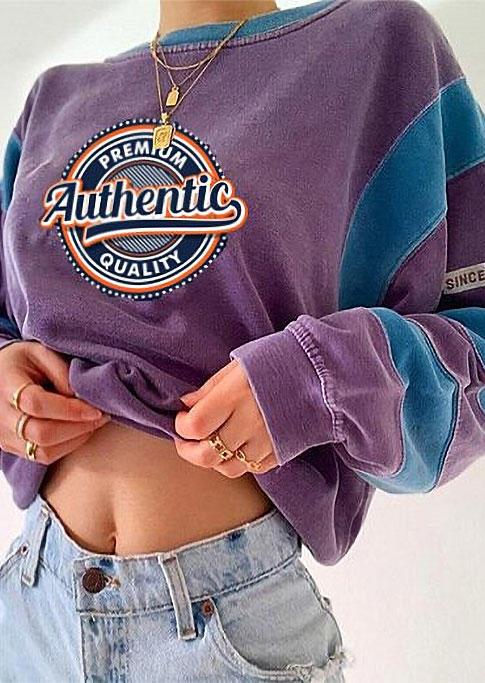 Authentic Color Block Long Sleeve Sweatshirt - Purple