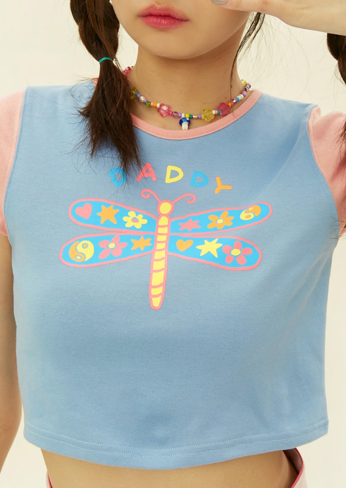 Butterfly Daddy O-Neck Crop Top - Blue