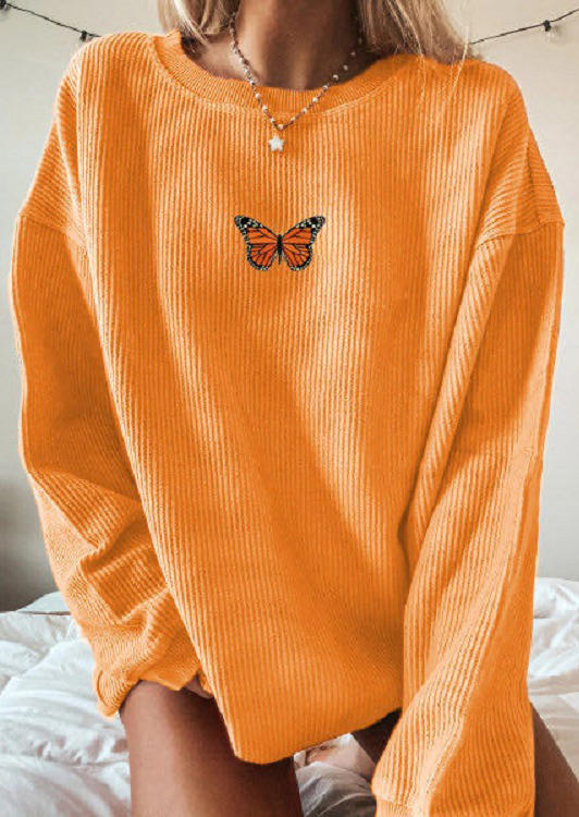 Butterfly O-Neck Pullover Sweatshirt - Orange