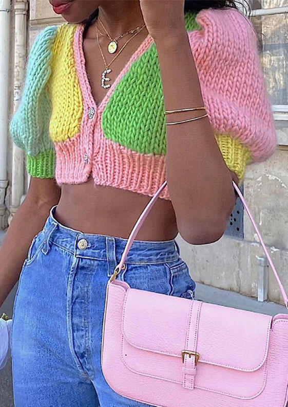 Color Block Button Knitted Crop Sweater