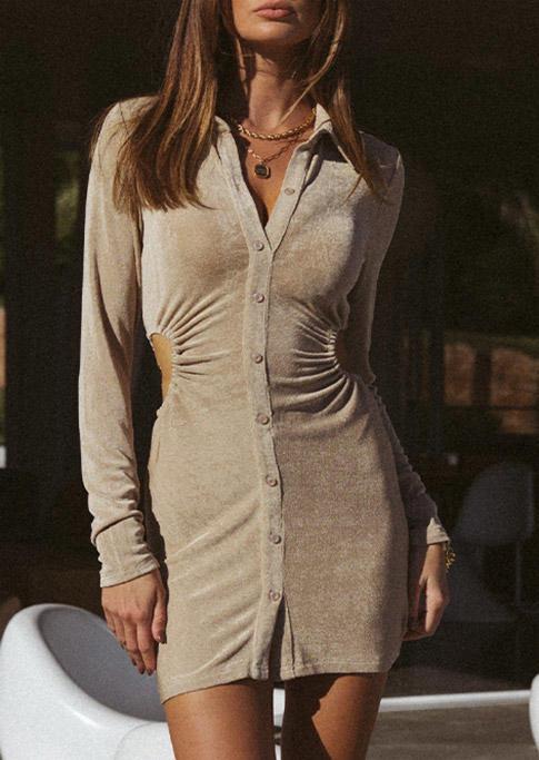 Ruffled Button Hollow Out Mini Dress - Khaki