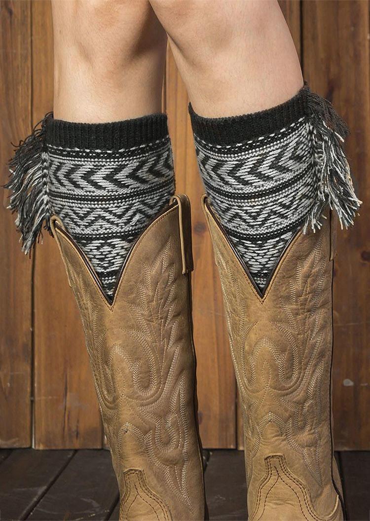 Socks Bohemian Tassel Geometric Leg Warmers Socks in Coffee,Dark Grey. Size: One Size
