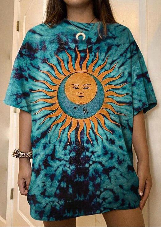 Funny Sun Face Tie Dye Casual O-Neck T-Shirt Tee