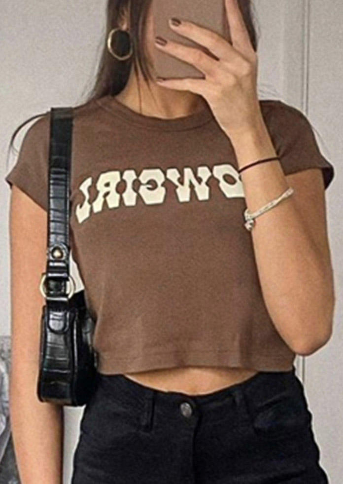 Cowgirl O-Neck Crop Top - Coffee