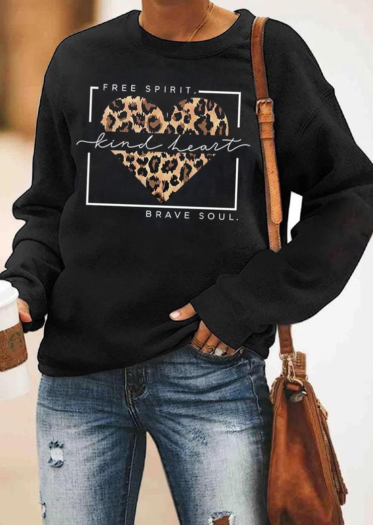 Sweatshirts Free Spirit Kind Heart Brave Soul Leopard Sweatshirt in Black. Size: ,M,L,XL