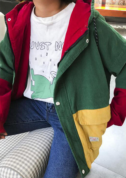 Color Block Button Drawstring Hooded Corduroy Coat