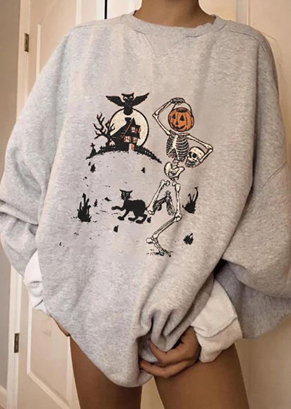 Halloween Skeleton Pumpkin Face Bat Sweatshirt - Beige