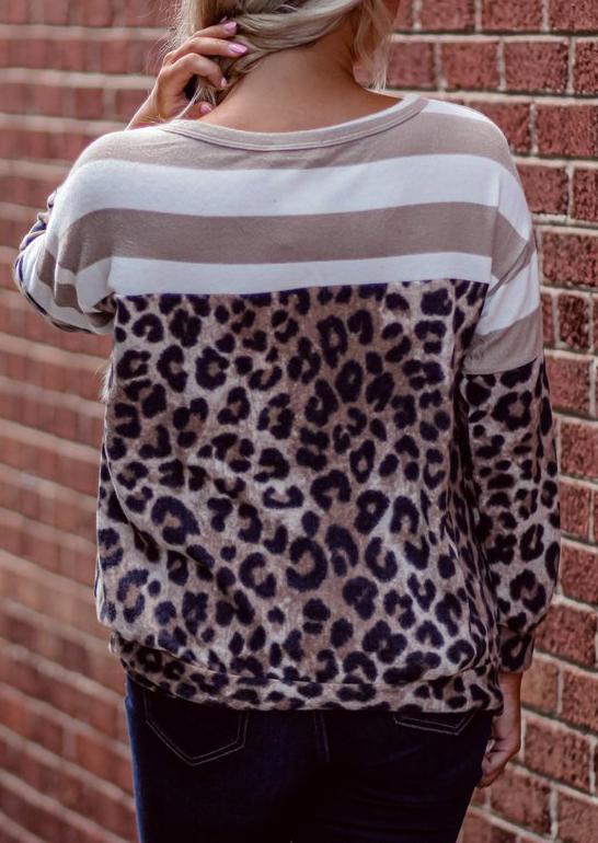 Leopard Striped Splicing LongSleeve Blouse