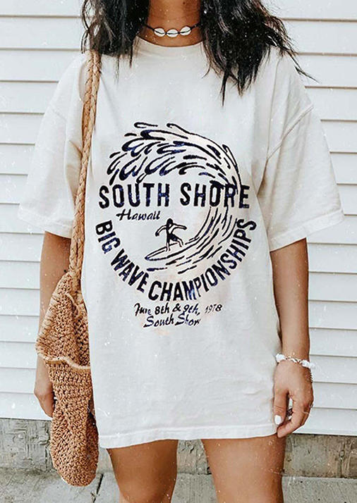 South Shore Big Wave Championships T-Shirt Tee - White