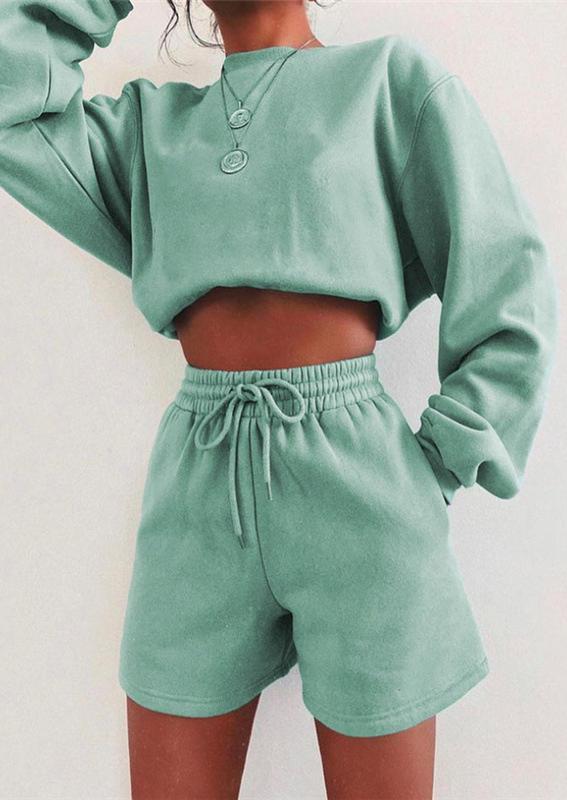 Long Sleeve Sweatshirt And Shorts Two-Piece Set - Green