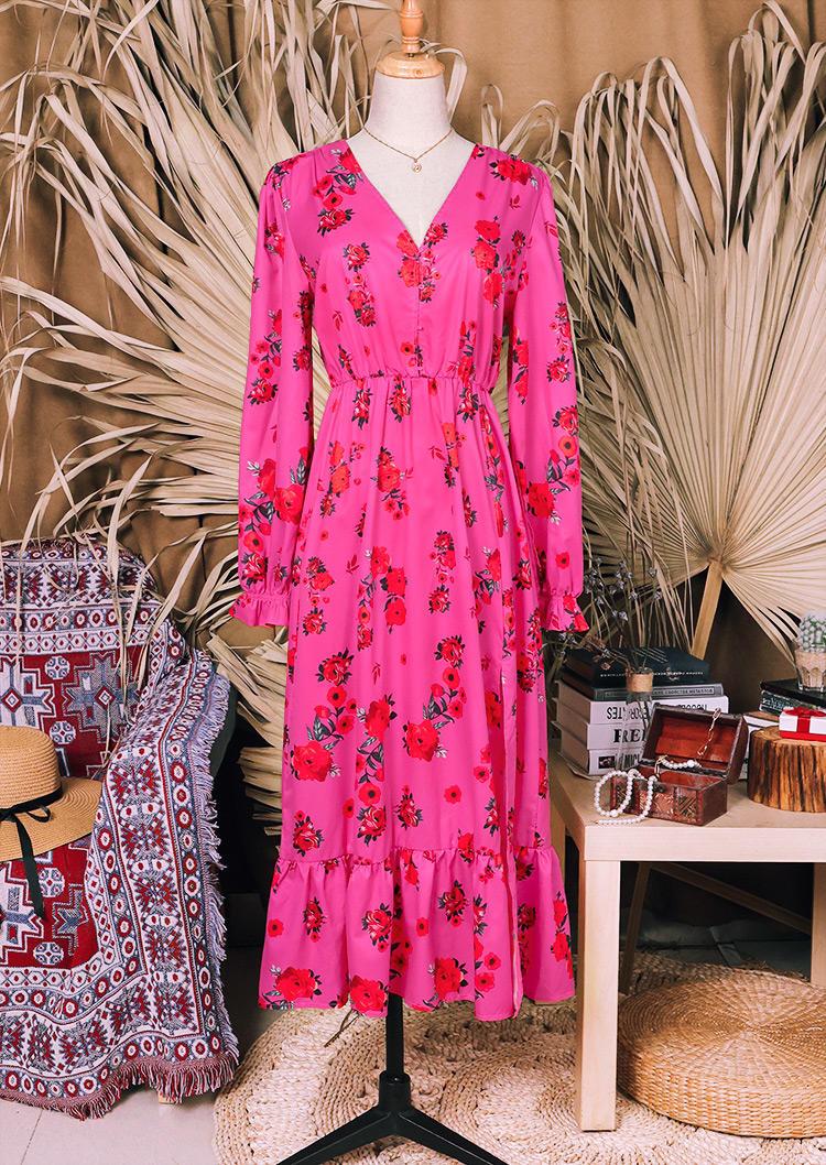 Floral Button Elastic Cuff Midi Dress - Rose Red