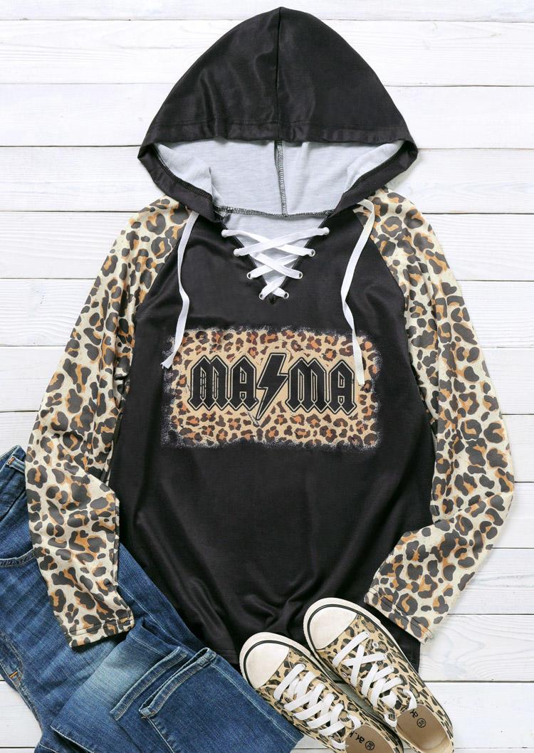 Leopard Mama Lace Up Raglan Sleeve Hoodie - Black