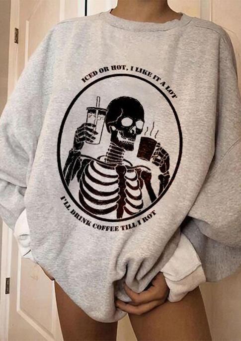 Halloween Skeleton Long Sleeve Sweatshirt - Gray