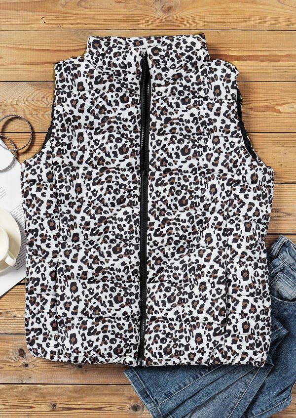 Leopard Pocket Zipper Sleeveless Vest Coat