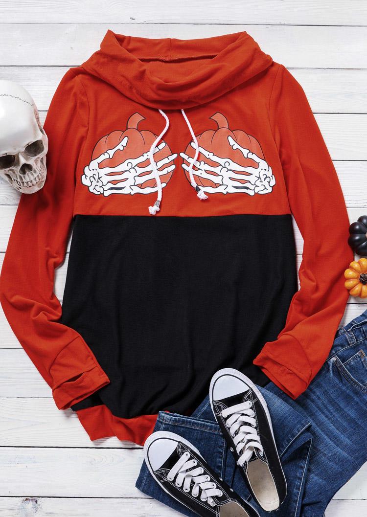 Halloween Skeleton Hand Pumpkin Drawstring Blouse - Orange