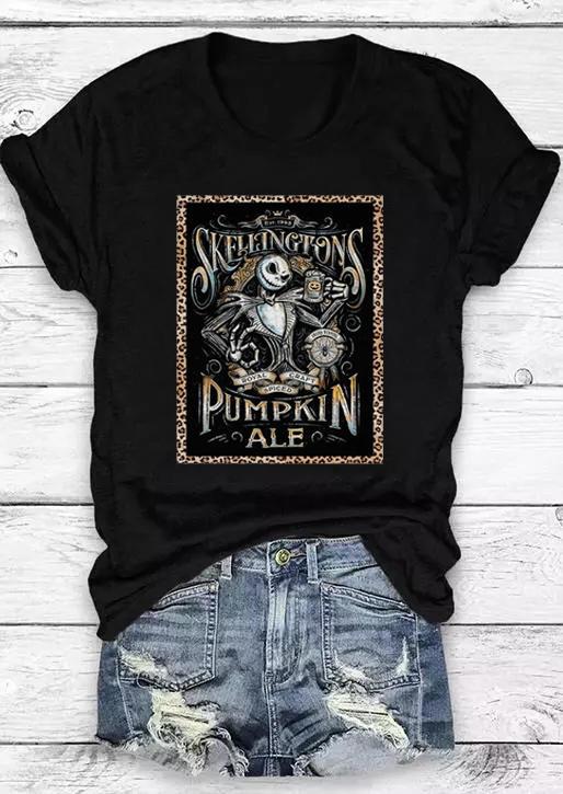 Halloween Skellington Pumpkin Skeleton T-Shirt Tee - Black