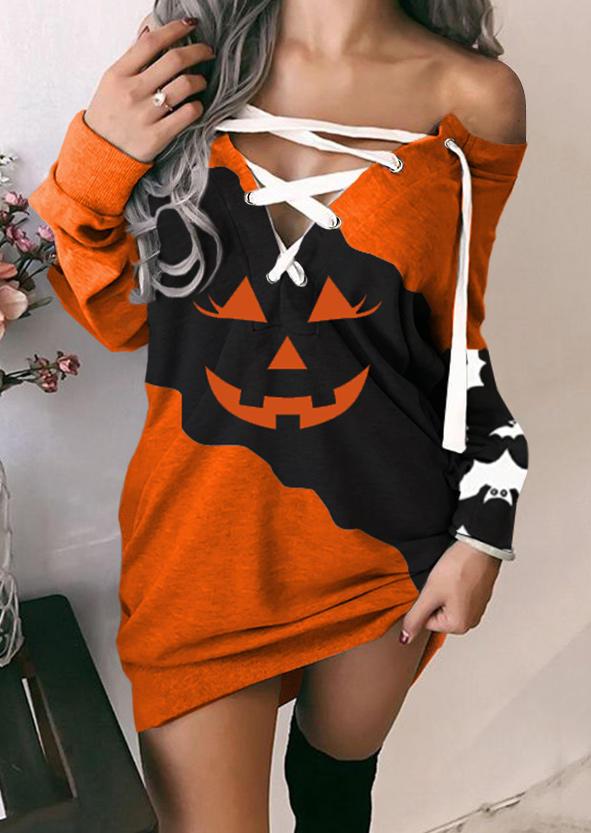 Halloween Pumpkin Face Lace Up Mini Dress - Orange