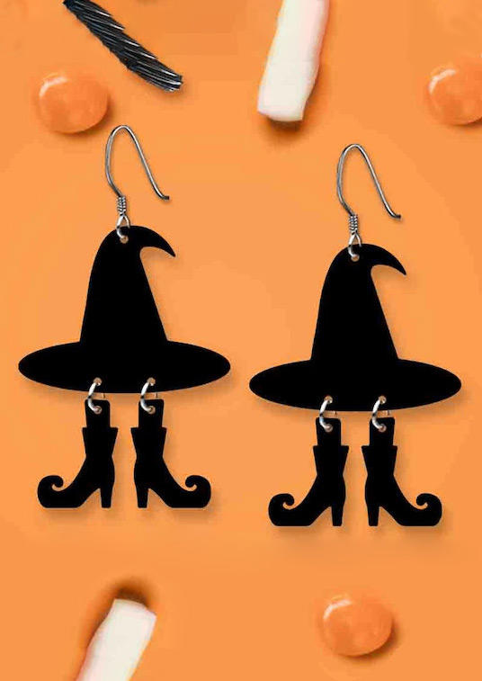 Halloween Witch's Hat And Boots Pendant Earrings