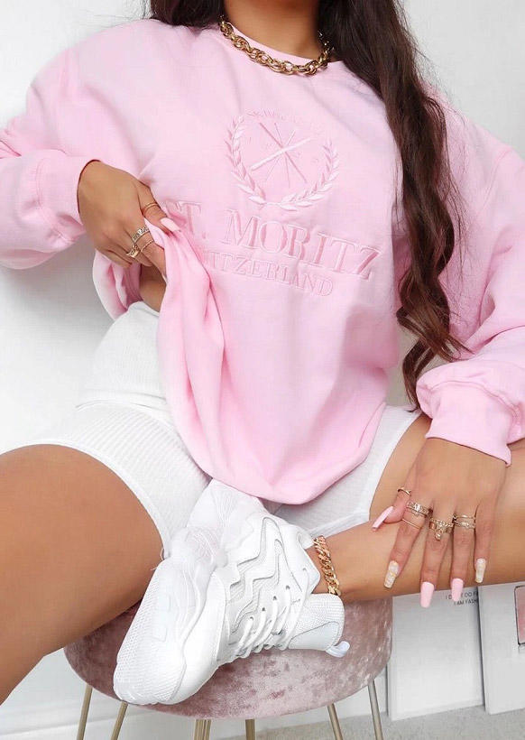 Letter Graphic Long Sleeve Sweatshirt - Pink