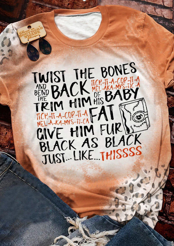 Halloween Funny Quotes Leopard Bleached T-Shirt Tee - Orange
