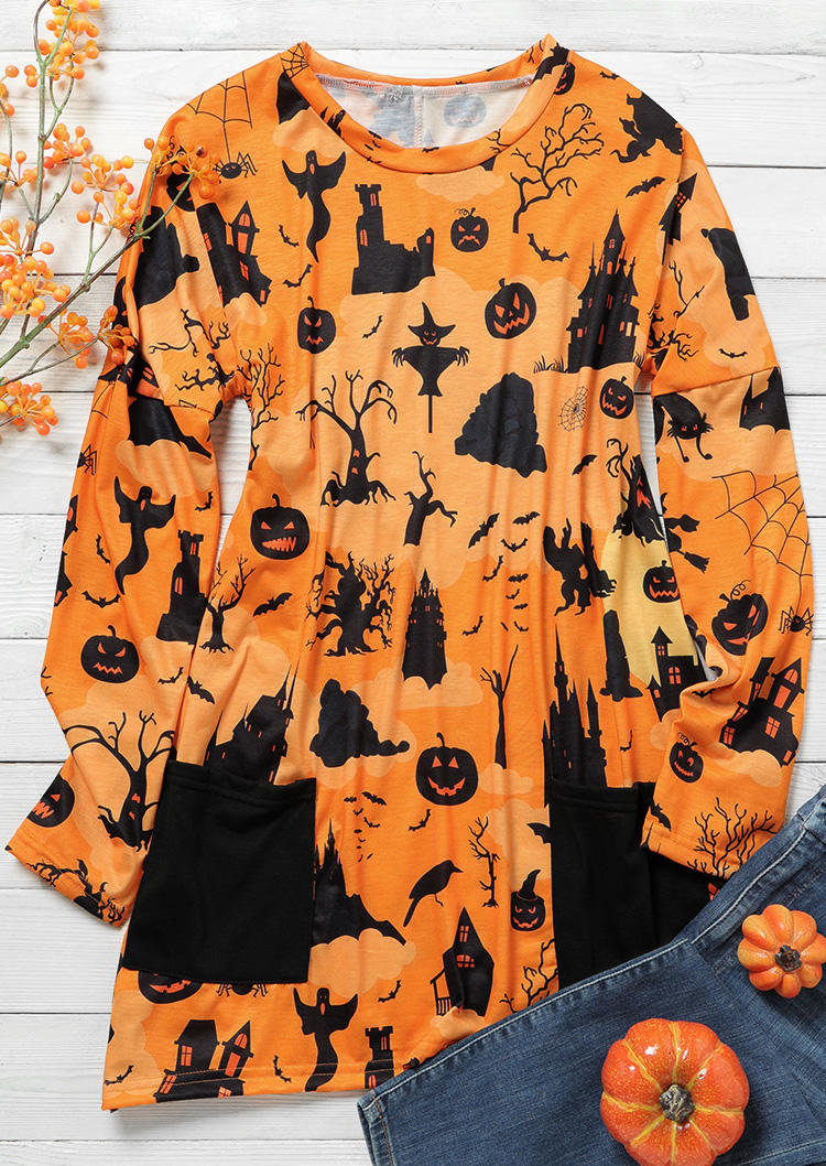 Halloween Pumpkin Pocket Long Sleeve Blouse - Orange