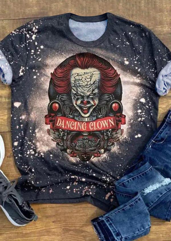 Halloween Dancing Clown Bleached T-Shirt Tee