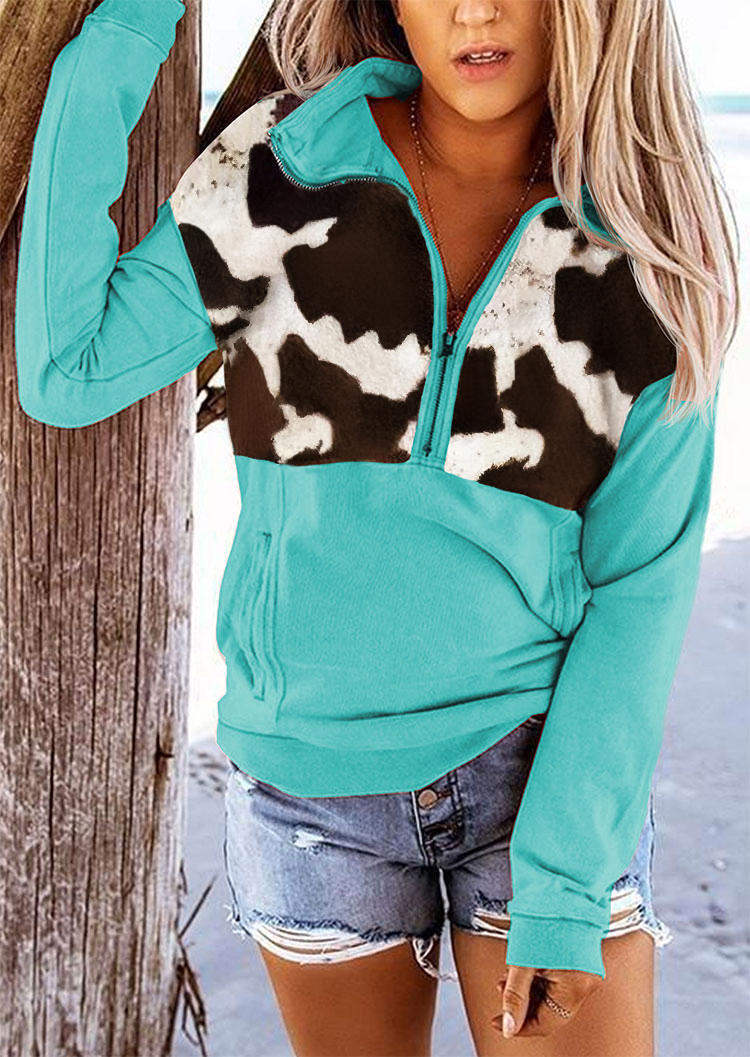 Cow Pocket Long Sleeve Zipper Collar Pullover Sweatshirt - Red