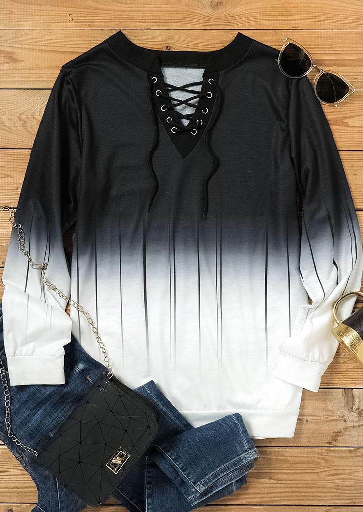 Gradient Striped Lace Up Blouse