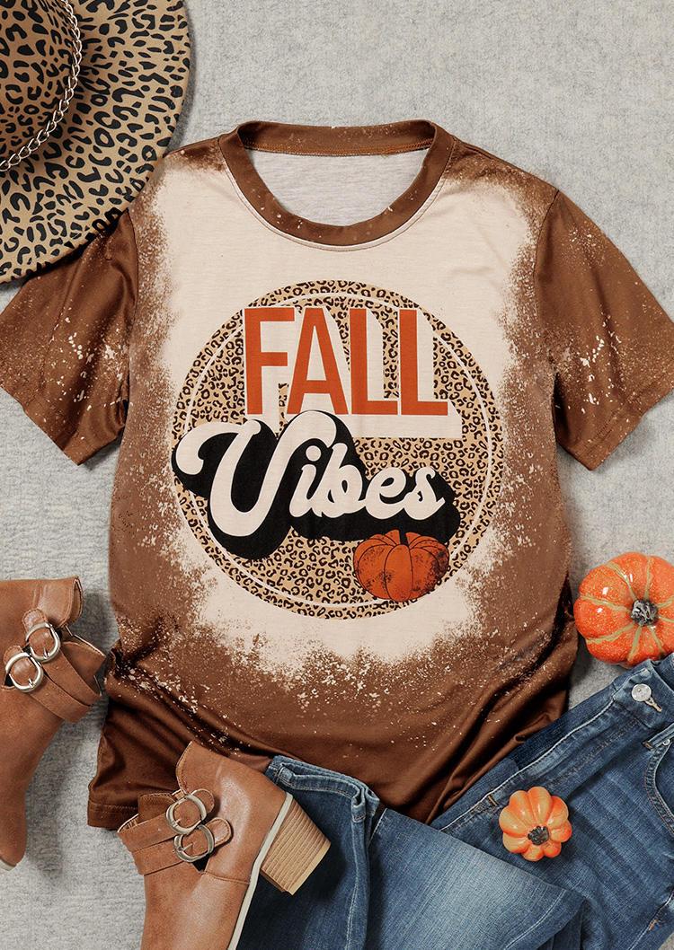 Fall Vibes Pumpkin Leopard Bleached T-ShirtTee - Brown