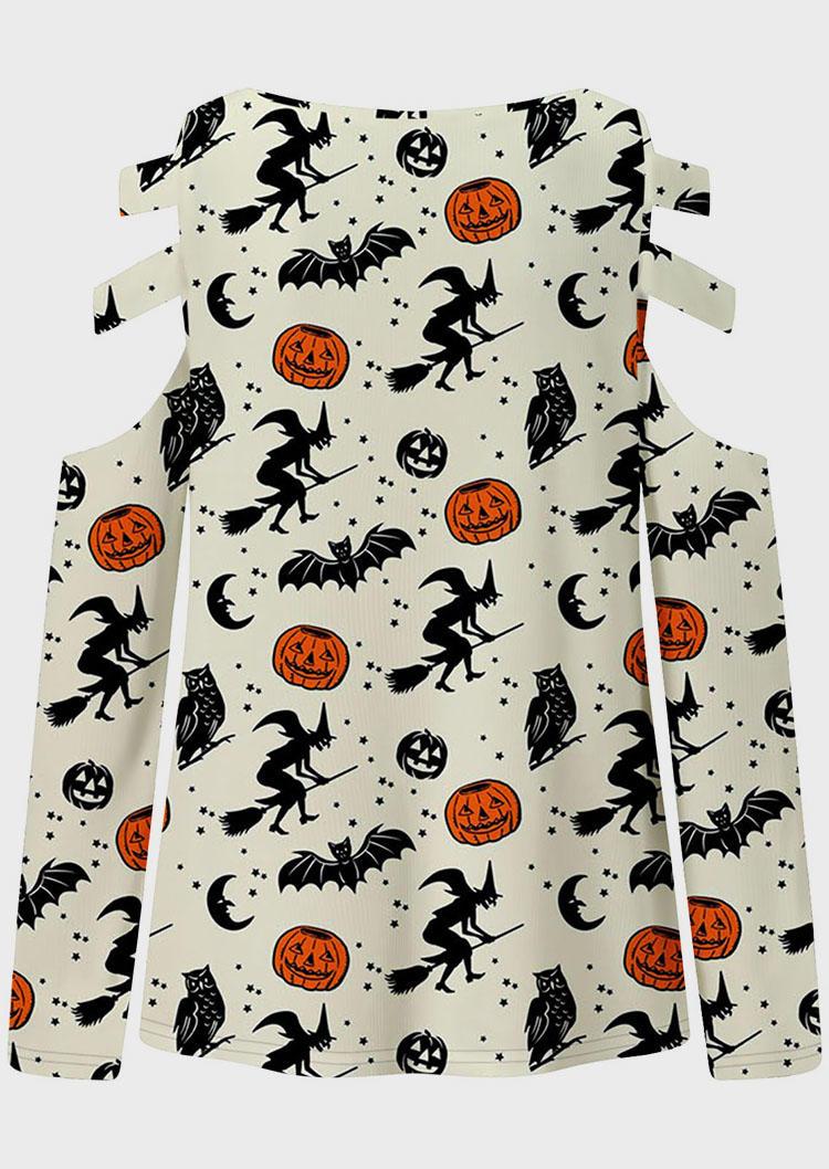 Halloween Pumpkin Face Witch Blouse - Beige