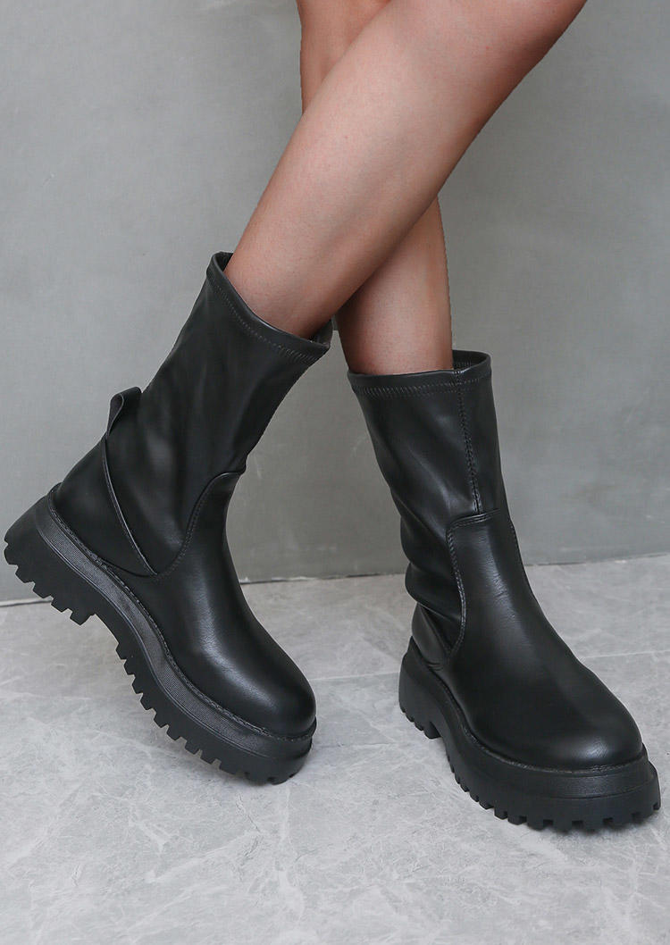 Fashion Mid-Calf Leather Boots - Black