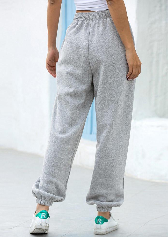 Pocket Elastic Waist Casual Sweatpants - Gray