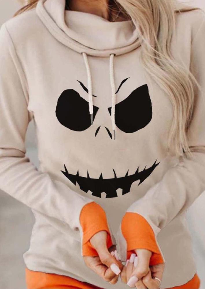 Halloween Pumpkin Face Thumbhole Hoodie - Beige