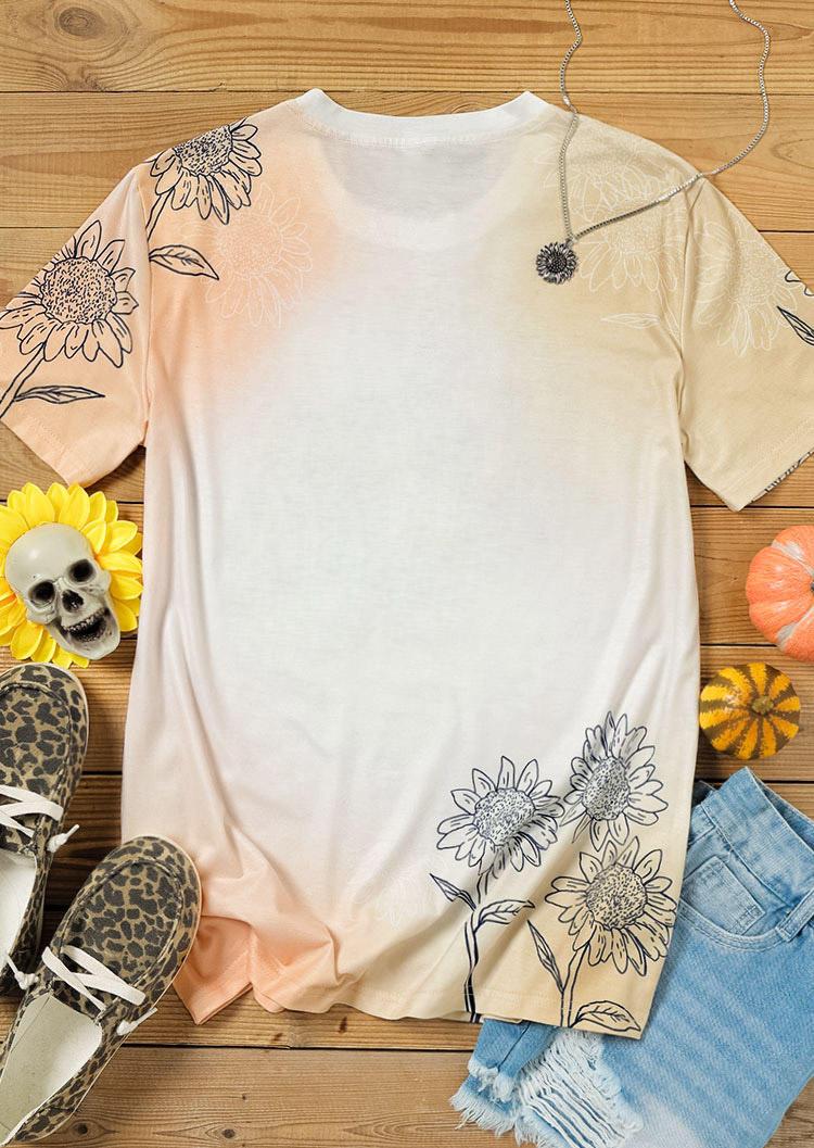 Leopard Pumpkin Sunflower Bleached T-Shirt Tee