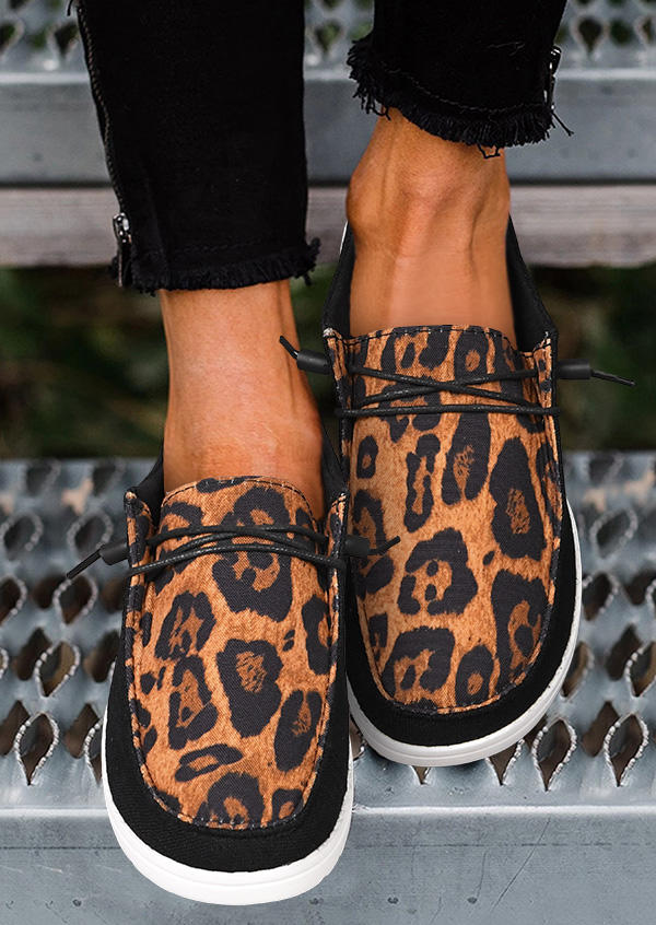 Leopard Lace Up Flat Sneakers