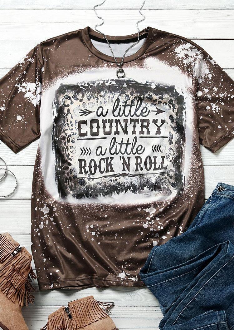 A Little Country A Little Rock 'N Roll Leopard T-Shirt Tee - Coffee