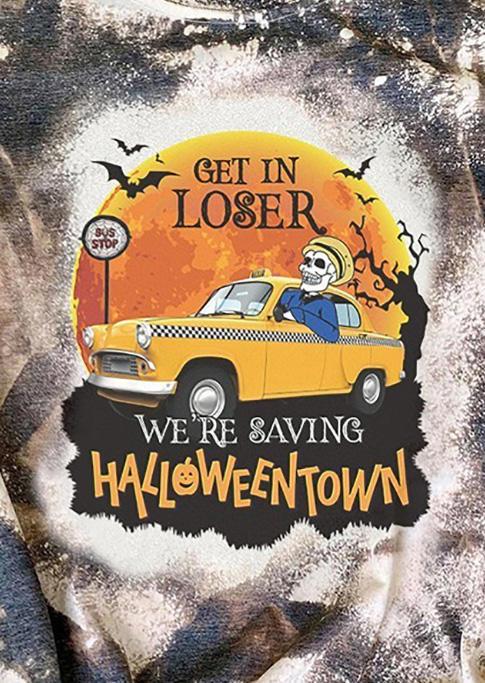 Get In Loser We're Saving Halloweentown Bleached T-Shirt Tee