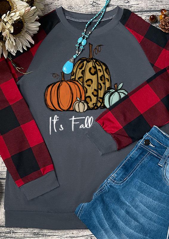 It's Fall Y'all Leopard Pumpkin Plaid T-Shirt Tee - Gray