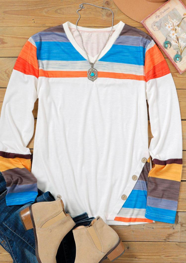 Colorful Striped Button Splicing V-Neck Blouse - White