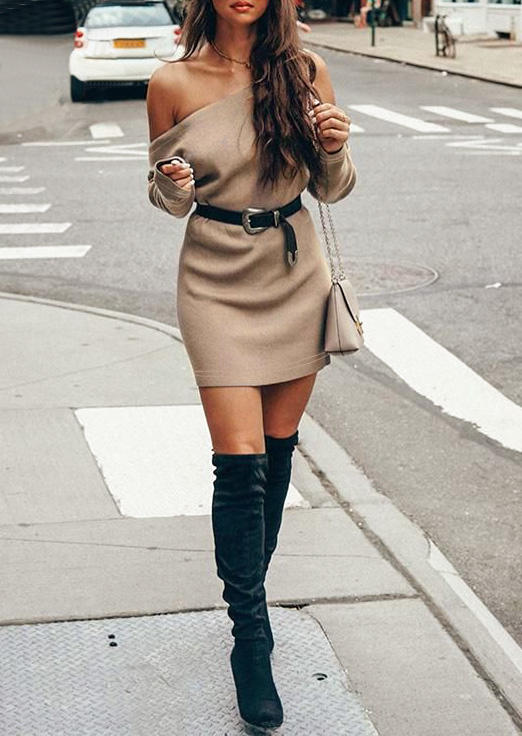 Slash Collar Mini Dress without Belt - Apricot