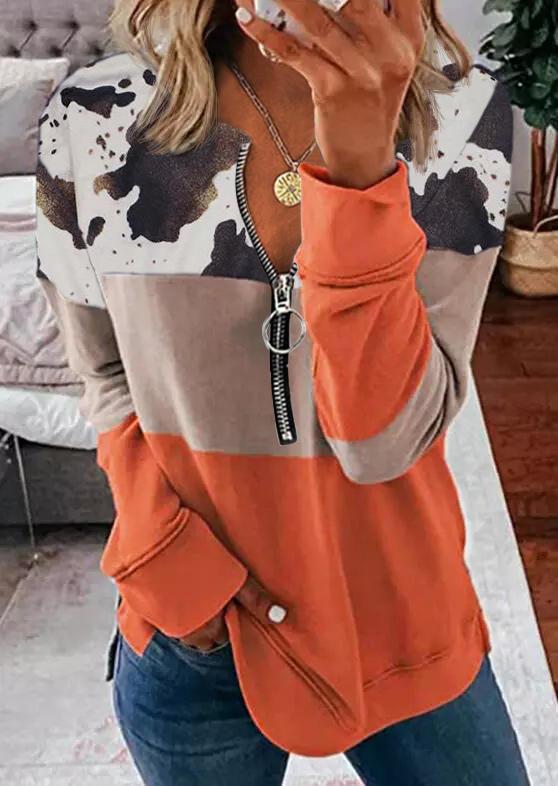 Cow Color Block Zipper Long Sleeve Sweatshirt