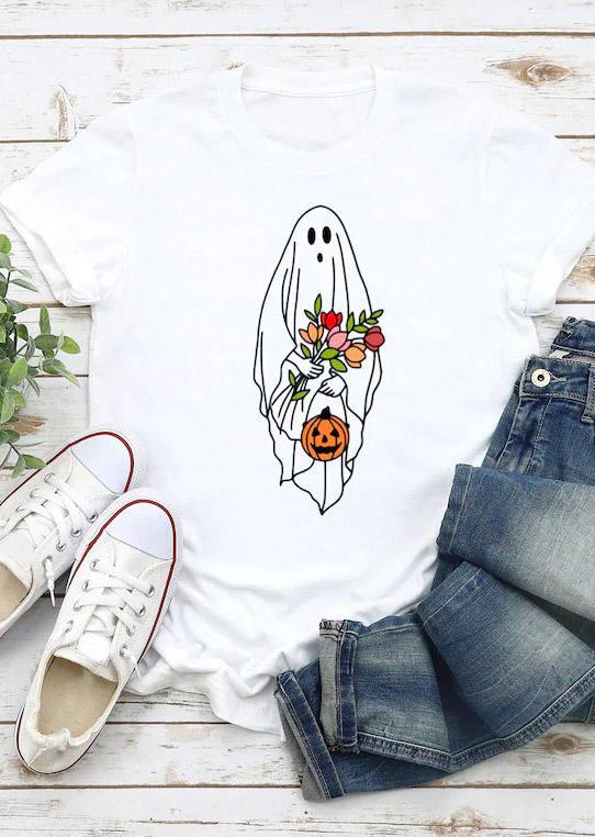 Halloween Ghost Pumpkin T-Shirt Tee - White