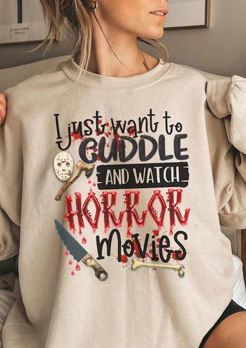 Halloween Cuddle And Watch Horror Movies Sweatshirt - Apricot
