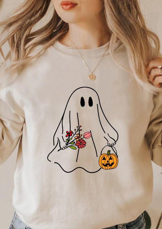 Halloween Ghost Pumpkin Pullover Sweatshirt - Apricot