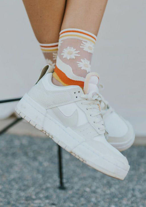 Floral See-Through Casual Socks