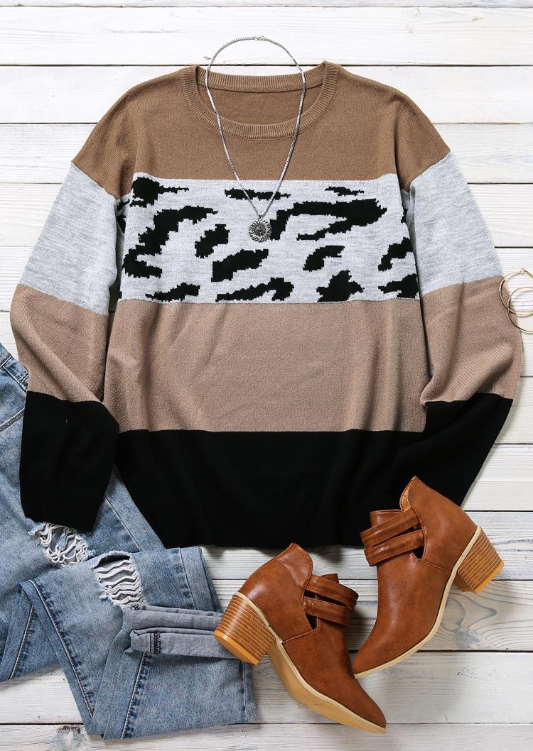 Color Block Leopard Splicing LongSleeve Sweater