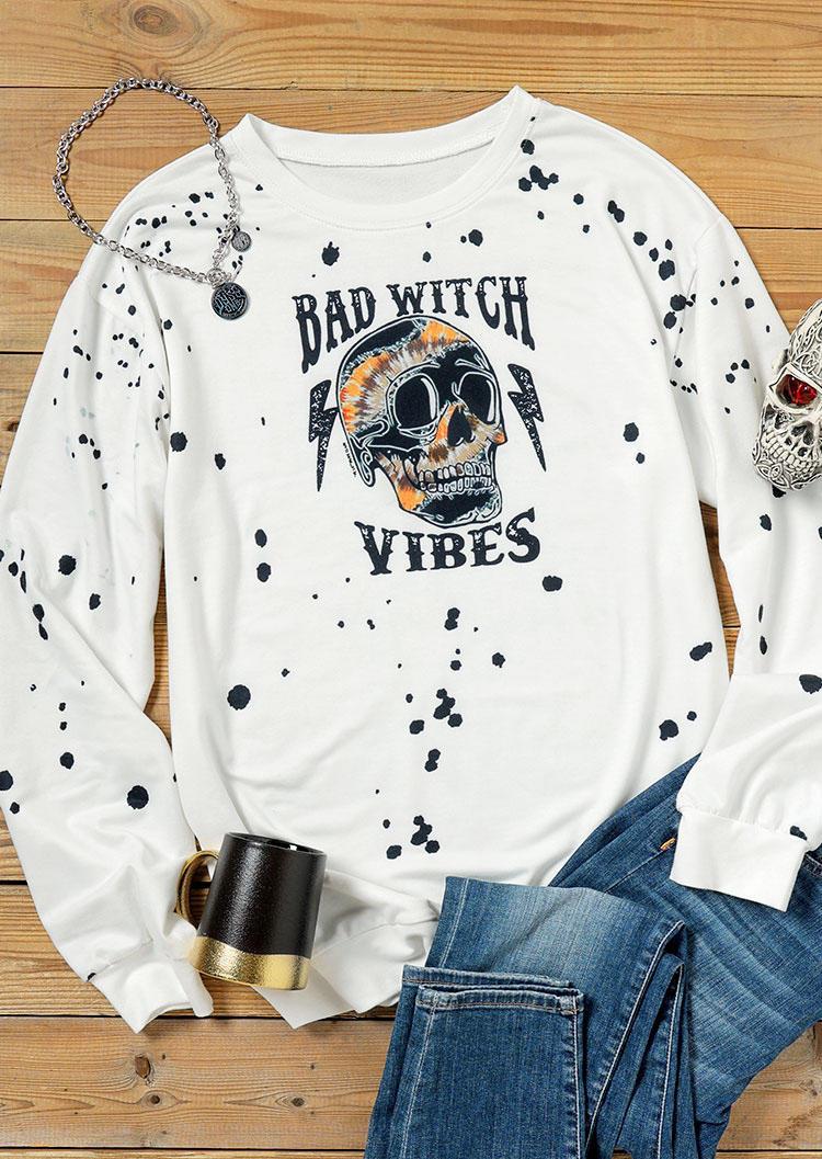 Halloween Skull Bad Witch Vibes Pullover Sweatshirt - White